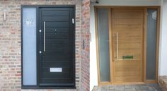 modern oak composite front door with side light - Google Search