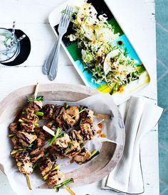 Australian Gourmet Traveller fast recipe for sticky pork skewers with nashi slaw. Slaw Recipes, Pork Chop Recipes, Fast Recipes, Small Food Processor, Food Processor Recipes, Nashi, Sticky Pork, Pork Skewers, Asian Snacks