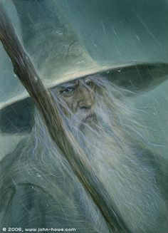 "ar-feiniel:  John Howe: Gandalf the Grey www.john-howe.com ""Gandalf was shorter in stature than the other two; but his long white hair, his sweeping silver beard, and his broad shoulders, made him look like some wise king of ancient legend. In his aged face under great snowy brows his eyes were set like coals that could suddenly burst into fire."" ― Many Meetings"