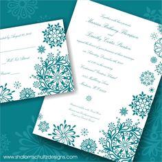 Wedding Invitations (Set of 100), Modern, Snowflake, Snow, Ice, Winter, Blue, Aqua, Teal, Turquoise, Custom, Personalized. $200.00, via Etsy.
