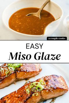 This miso glaze is perfect for fish like salmon, tofu or vegetables! The savory umami is off the charts, making each bite irresistible. | miso recipes | asian recipes | #misoglaze #glaze #miso #misorecipe Healthy Salmon Recipes, Seafood Recipes, Asian Recipes, Asian Dinner Recipes, Japanese Recipes, Asian Foods, Healthy Dinners, Vegetarian Cookbook, Vegetarian Recipes