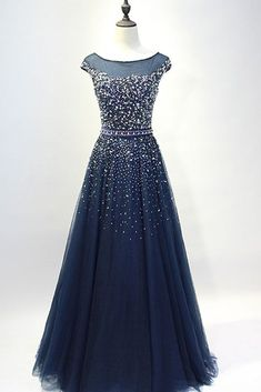 Dark blue tulle sequins round neck full-length prom dresses, A-line evening dresses with straps #eveningdresses