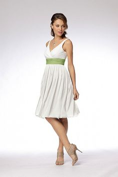 great brides maid except make the dress gold with the green sash or green dress and gold or ivory sash
