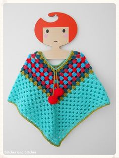 Crochet Poncho For A Little Girl. Baby, Toddler Age, Plus.. Vintage Inspired.