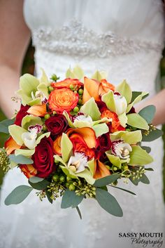 Bouquet with orange roses, red roses, Fall wedding - Sassy Mouth Photography