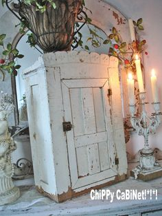 Shabby Chic Chippy White Wall Cupboard
