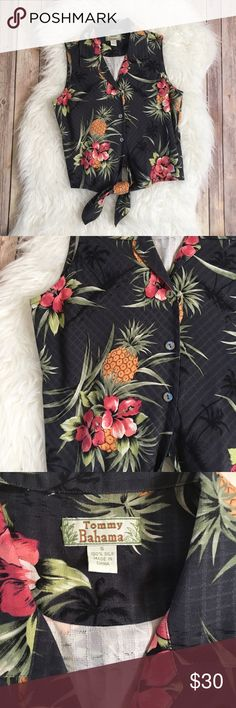 4f2de74de80 Pretty pineapple and floral print fabric. Approx measurements while laid  flat  Length from back of neck to Tommy Bahama Tops