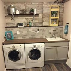 57 Fantastic Laundry Room Design Ideas and Decorations - artmyideas Laundry Room Shelves, Basement Laundry, Farmhouse Laundry Room, Laundry Closet, Laundry Room Organization, Small Laundry, Laundry Room Design, Laundry Area, Bathroom Remodel Cost