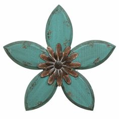 Teal on Red Antique Flower Wall Hanging #plaques #signs (ebay link) Metal Walls, Wood And Metal, Flower Mirror, Blue Wall Decor, Wall Decor Online, Décor Antique, Metal Tree Wall Art, Metal Flower Wall Decor, Hanging Flower Wall