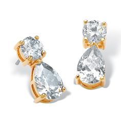 5.40 TCW Pear-Cut and Round Cubic Zirconia 14k Gold-Plated Drop Earrings on PalmBeach Jewelry