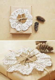 Doily tied to the front of a smartly wrapped present.