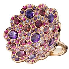 """""""Firefly"""" Multi Gem Gold Ring   See more rare vintage Cocktail Rings at https://www.1stdibs.com/jewelry/rings/cocktail-rings"""