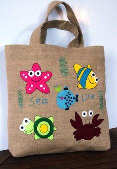 Eco friendly  Jute tote  applique embroidered handbag by Apopsis