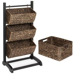 Buy Best Choice Products Durable Water Hyacinth Floor Rack Stand Hanging Storage Basket Tower Shelving Cubby Display Organizer w/Metal Frame - Brown Rolling Storage, Cubby Storage, Hanging Storage, Storage Baskets, Shoe Storage, Storage Drawers, Storage Ideas, Kitchen Rack, Kitchen Dining