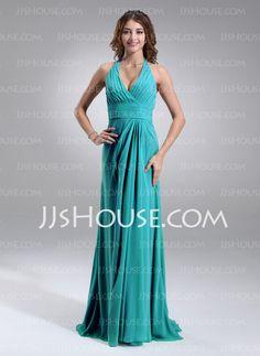 Bridesmaid Dresses - $117.99 - A-Line/Princess Halter Sweep Train Chiffon Bridesmaid Dress With Ruffle (007004308) http://jjshouse.com/A-Line-Princess-Halter-Sweep-Train-Chiffon-Bridesmaid-Dress-With-Ruffle-007004308-g4308