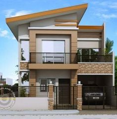 Modern House Designs Series: Modern House Designs series features a 4 bedroom 2 story house design. The ground floor features a 2 car garage dining, kitchen and 1 bedroom. The second floor contains the 2 bedrooms shar Two Storey House Plans, One Storey House, New House Plans, Modern House Plans, Small House Plans, House Floor Plans, Modern Zen House, Modern Houses, 2 Story House Design