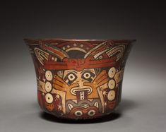 Earthenware bowl with costumed being. Peru. South Coast. Nasca style. 100 B.C. - 700 A.D. | Cleveland Museum of Art