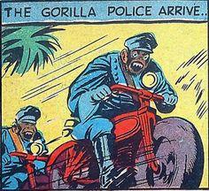 comic panel: The Gorilla Police arrive
