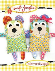 """Sew up a couple of cute bears in no time. This is a great beginner project. Instructions and full size pieces are included in the pattern to Quincy and Maggie Bear. 9.5""""H x 6.5"""" W Suitable Fabrics: Qu"""