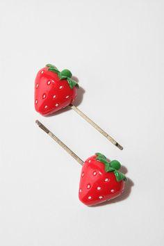 Strawberry bobby pins, so cute! $12
