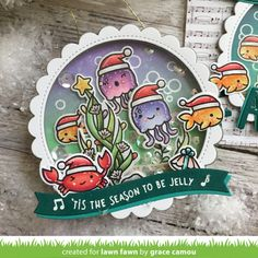 Lawn Fawn Intro: Christmas Fishes and Happy Holidays Line Border - Lawn Fawn What Is Christmas, Christmas Post, Christmas Cards, Christmas 2019, Christmas Ideas, Pretty Cards, Cute Cards, Lawn Fawn Blog, Christmas Baskets