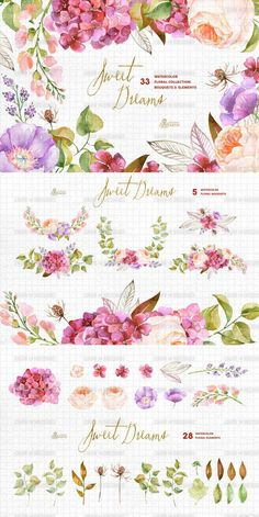 HD PNG watercolor painted floral flowers foliage garland invitation card design creative landscaping--T525527305904 by artchina on Etsy