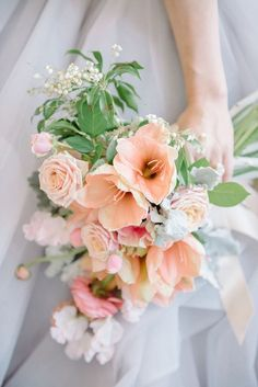 Moonstone and Opal Shades for a Watercolor Spring Wedding Romantic Opalescent Bridal Bouquet Spring Wedding Flowers, Bridal Flowers, Flower Bouquet Wedding, Floral Wedding, Flower Bouquets, Peach Wedding Decor, Purple Wedding, Blue Bouquet, Silk Flowers
