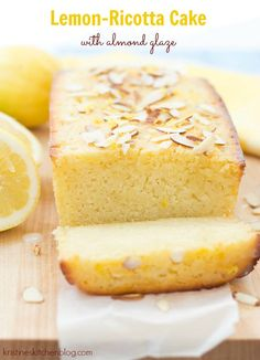 I'm totally addicted to this lemon ricotta cake with almond glaze. It is so moist and bursting with bright lemon flavor! I just can't stop with this lemon ricotta cake. I've made it three times i. Lemon Desserts, Lemon Recipes, Just Desserts, Sweet Recipes, Delicious Desserts, Cake Recipes, Lemon Ricotta Cake, Lemon Cakes, Dessert Crepes