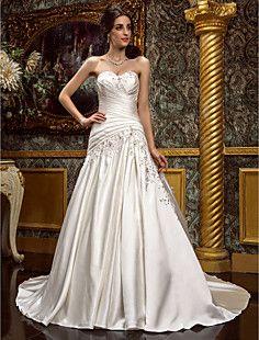 A-line Sweetheart Court Train Satin Wedding Dress (612950) – USD $ 299.99 Love satin!