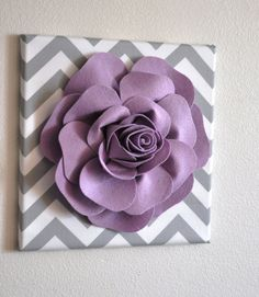 """Wall Flower Decor -Lilac Rose on Gray and White Chevron 12 x12"""" Canvas Wall Art- Flower Wall Art on Etsy, $34.00"""