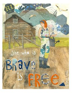 """""""She who is brave is free"""" Homestead garden girl with Auburn hair and watering can.Illustration Print by Rachel Grant. Available on Etsy."""