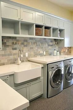 Country Laundry Room with Rohl - rrc3018wh shaws apron front sink, Paint 2, Farmhouse sink, Paint 1, Carpet, laundry sink