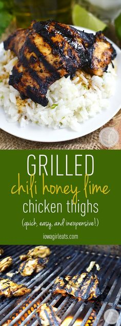 Grilled Chili Honey Lime Chicken Thighs are quick, flavorful and so tender - one of my favorite grilling recipes! #glutenfree | iowagirleats.com