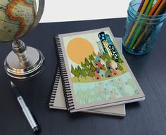 Artist Shanni Welsh's Cityscape writing sketchbook. Journal. Spiral notebook. Cute gift for writers.