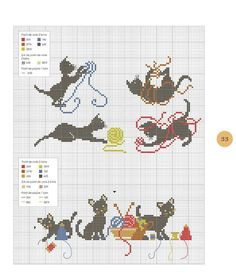 cross stitch: cats with yarn balls