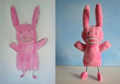 Kids drawings into soft toys  Absolutely love this!