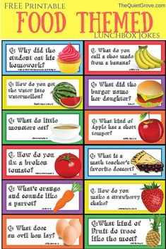 Food themed Printable Lunchbox Jokes and Notes for Kids! ⋆ The Quiet Grove Food Themed Lunchbox Jokes Funny Food Jokes, Funny Riddles, Jokes And Riddles, Funny Jokes For Kids, Silly Jokes, Food Humor, Kid Jokes, Food Puns, Food Riddles