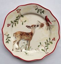 Better Homes u0026 Gardens Christmas Heritage Deer Salad Plate * Multiples & Tartan Chargers for the Holiday Table | Pinterest | Gardens Holiday ...
