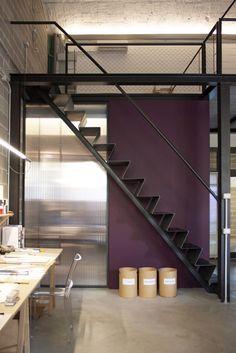 Steep metail stairs.