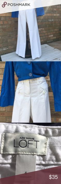 """Ann Taylor {LOFT} white flare jeans. Stylish Ann Taylor {LOFT} white jeans. Great front slant pockets with button closure & open back pockets. Size 4, has a wide 10 1/2"""" flare, with a 2 1/2"""" wide hem at the bottom. Waist 33 1/2"""" with double button & zippered closure. Front rise 8"""", rear rise 13"""", inseam 33"""". Great condition! LOFT Jeans Flare & Wide Leg"""