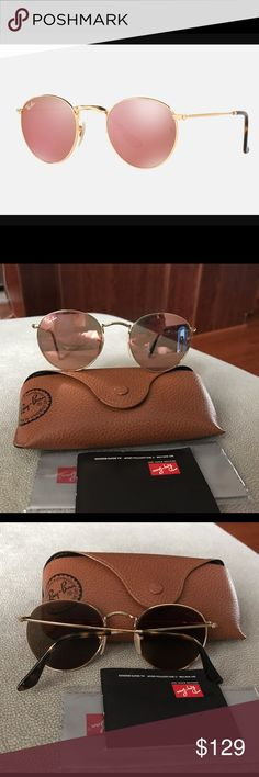 Ray-Ban Round Flat Gold with pink lenses It's worn twice like brand new. Ray-Ban Accessories Sunglasses