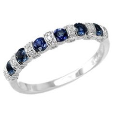 Blue Sapphire & Diamond Anniversary Wedding Band. So gorgeous!