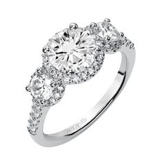Artcarved Regan Three Stone Round prong Set Diamond and Pave Diamond Halo Engagement Ring (center Stone Not included), Diamond .75cttw