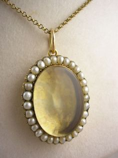 Early Victorian Large & Deep Pearl Locket Pendant, 12K Gold Cased, Circa 1856