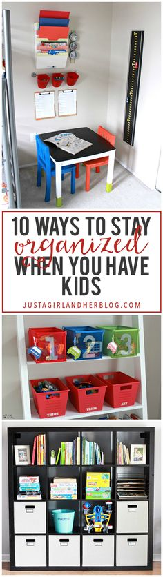 Love these ideas for getting organized when you have kids at home! Click through to see all of her smart tips and tricks! Organize Your Life, Organizing Your Home, Organizing School, Organizing Ideas, Ideas Para Organizar, Staying Organized, Closet Organization, Kids House, Playroom