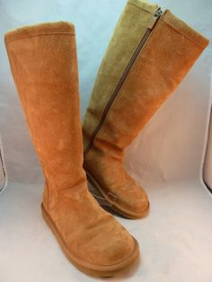 UGG Classic Tall Brown Leather Sheepskin Lined Women's Boots Style 1891 Sz 7 #UGGAustralia #SnowWinter