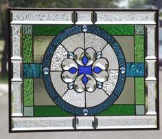 """8 Blue Jewels~Beveled Stained Glass Window ≈23 ¼ """"x 17 1/2""""(59.5 x 44.5cm) #HandmadebyChrisGleim"""