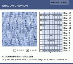 Shadow Chevron stitch is interesting to knit, suitable for beginners as well as more experienced knitters. Pattern includes Writtern instructions, chart and PDF file. Loom Knitting Stitches, Knitting Charts, Lace Knitting, Crochet Yarn, Knitting Patterns Free, Stitch Patterns, Cardigan Bebe, How To Purl Knit, Knitting Projects