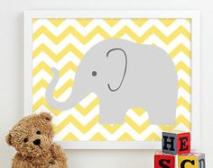 elephant picture for nursery - yellow and grey seems to be everywhere