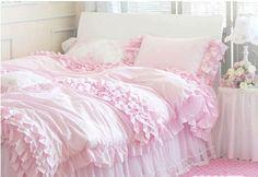 pink ruffle bedspread | Pink Ruffled Duvet Cover 4pcs Set Queen